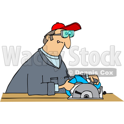 Clipart Graphic of a Cartoon White Man Using a Circular Saw - Royalty Free Vector Illustration © djart #1454437