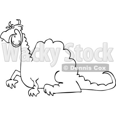 Clipart of a Cartoon Black and White Angry Dragon - Royalty Free Vector Illustration © djart #1455250