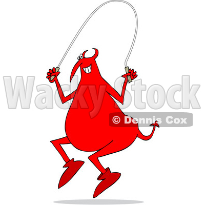 Clipart of a Cartoon Chubby Red Devil Using a Jump Rope - Royalty Free Vector Illustration © djart #1455534
