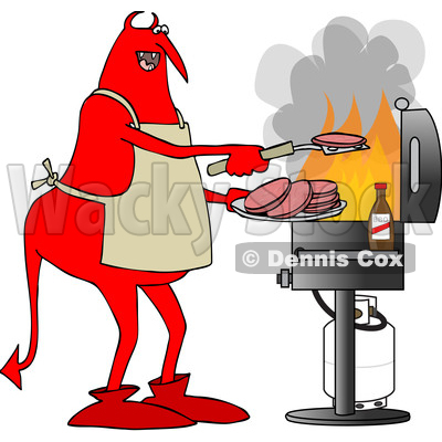 Clipart of a Cartoon Chubby Red Devil Grilling Aon a Bbq - Royalty Free Vector Illustration © djart #1455536