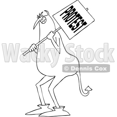 Clipart of a Cartoon Black and White Chubby Devil Protestor Holding a Sign - Royalty Free Vector Illustration © djart #1455538