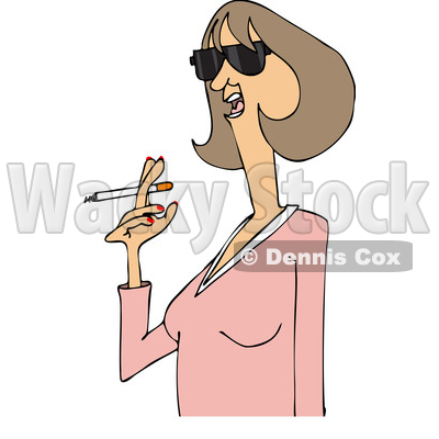 Clipart of a Cartoon Middle Aged Woman Smoking a Cigarette - Royalty Free Vector Illustration © djart #1455657
