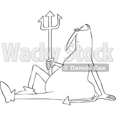 Clipart of a Black and White Chubby Devil Sitting on the Ground with a Pitchfork - Royalty Free Vector Illustration © djart #1457285