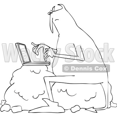Clipart of a Chubby Devil Sitting on a Boulder and Using a Laptop Computer - Royalty Free Vector Illustration © djart #1458160