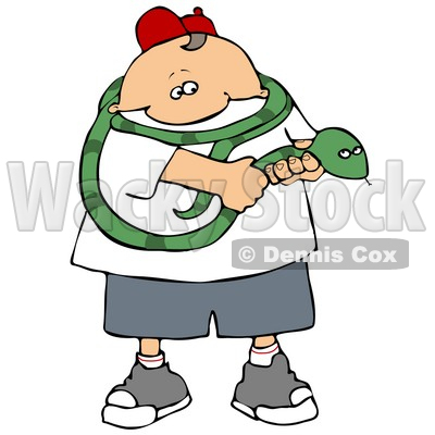 Brave Boy Holding a Long Green Snake That is Coiled Around ...