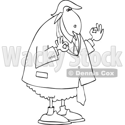 Clipart of a Black and White Commander in Sheep, Donald Trump - Royalty Free Vector Illustration © djart #1459386