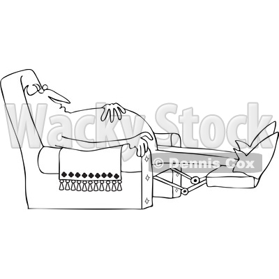 Clipart of a Black and White Chubby Devil Sleeping in a Recliner Chair - Royalty Free Vector Illustration © djart #1460157