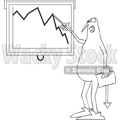 Clipart of a Black and White Devil Discussing a Decline in the Economy - Royalty Free Vector Illustration © djart #1460161