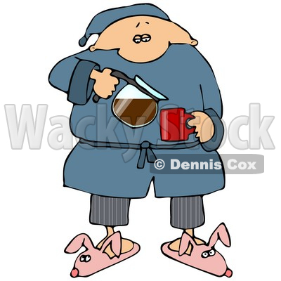Sleepy Man In Pjs And Bunny Slippers, Pouring Himself A Cup Of Fresh, Hot Coffee In The Morning Clipart Illustration © djart #14602