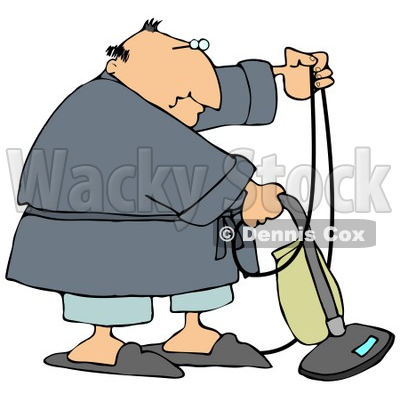 Chubby Man In A Robe, Pjs And Slippers, Using A Vacuum To Clean His Carpet In His Home Clipart Illustration © djart #14606