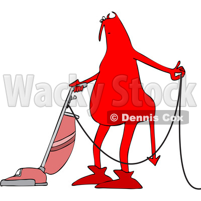 Clipart of a Cartoon Chubby Red Devil Vacuuming - Royalty Free Vector Illustration © djart #1460989