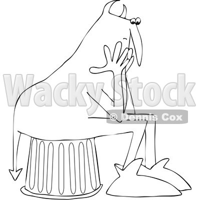 Clipart of a Black and White Chubby Devil Sitting and Worrying - Royalty Free Vector Illustration © djart #1460996