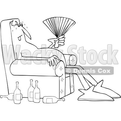 Clipart of a Cartoon Black and White Hot Chubby Devil Sitting in a Chair with a Fan and Bottles on the Floor - Royalty Free Vector Illustration © djart #1461326