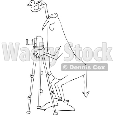 Clipart of a Chubby Devil Photographer Holding a Rubber Duck and Using a Camera on a Tripod, Black and White - Royalty Free Vector Illustration © djart #1461657