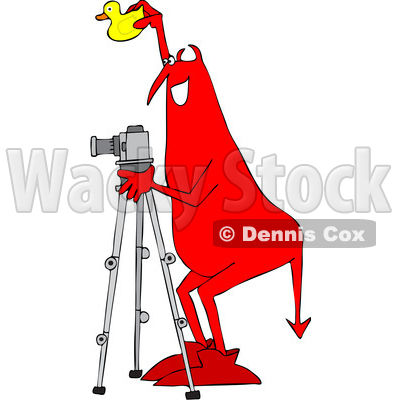 Clipart of a Chubby Red Devil Photographer Holding a Rubber Duck and Using a Camera on a Tripod - Royalty Free Vector Illustration © djart #1461662