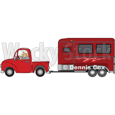 Clipart of a Man Driving a Red Pickup Truck and Hauling a Horse Trailer - Royalty Free Vector Illustration © djart #1462727