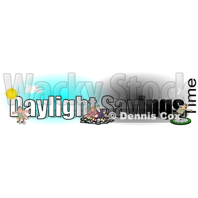 Clipart of a Daylight Savings Time Text Design with People and Clocks - Royalty Free Illustration © djart #1466633