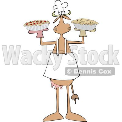 Clipart of a Baker Cow Holding Pies - Royalty Free Vector Illustration © djart #1470754