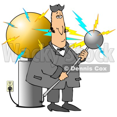 Nicola Tesla Surrounded By Electrical Shocks While Experimenting With The Coil Clipart Illustration Graphic C