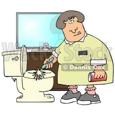 Disgusted Woman Holding A Can Of Cleanser While Scrubbing A Dirty Toilet In A Restroom Clipart Illustration Graphic © djart #14712