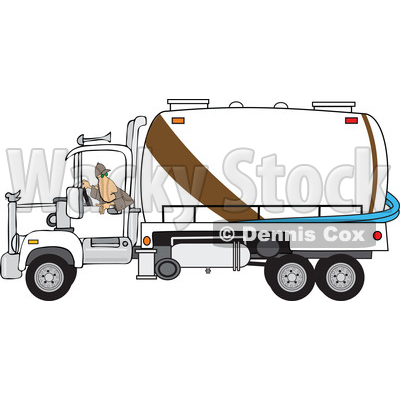 Clipart of a Man Backing up a Septic Pumper Truck - Royalty Free Vector Illustration © djart #1476505