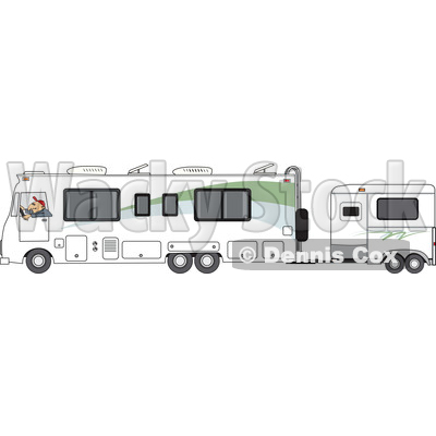Clipart of a Cartoon White Man Driving a Motorhome with a Horse Trailer - Royalty Free Vector Illustration © djart #1476675
