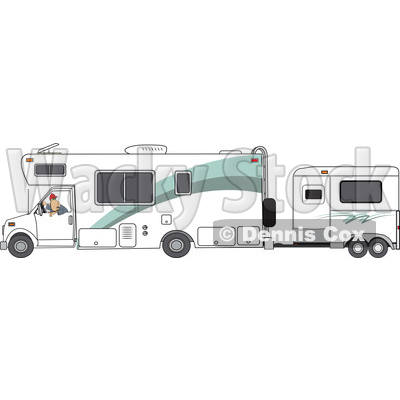 Clipart of a Cartoon White Man Backing up a Motorhome with a Horse Trailer - Royalty Free Vector Illustration © djart #1476676
