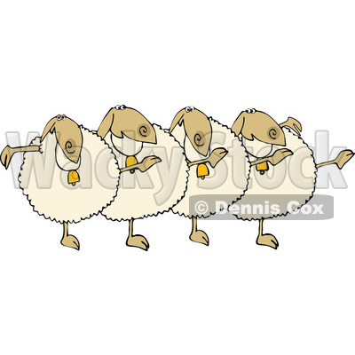 Clipart of a Chorus Line of Sheep Dancing the Can Can - Royalty Free Vector Illustration © djart #1476678