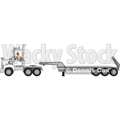 Clipart of a Trucker Backing up a Tracter to a Low Boy Trailer - Royalty Free Vector Illustration © djart #1479999