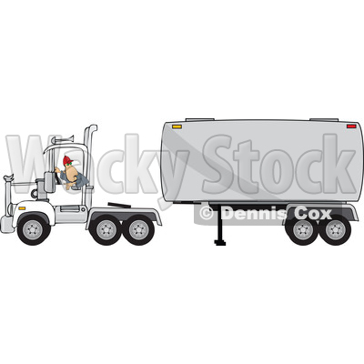 Clipart of a Trucker Backing up a Tracter to a Tanker - Royalty Free Vector Illustration © djart #1480000
