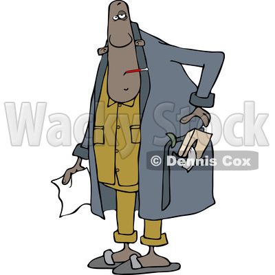 Clipart of a Sick Black Man Wearing a Robe and Holding a Tissue - Royalty Free Vector Illustration © djart #1505601