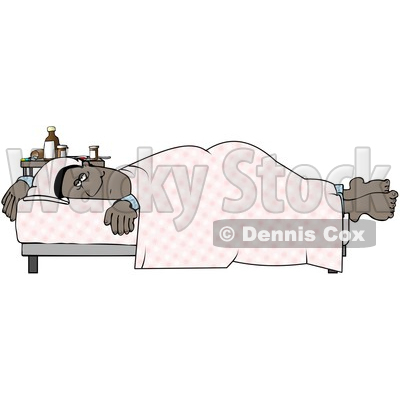 Clipart of a Cartoon Sick Black Man Resting in Bed - Royalty Free Illustration © djart #1511701