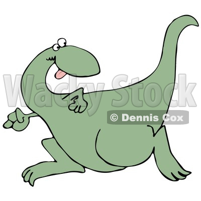 Goofy Green Dinosaur Running And Looking Back Over His Shoulder While Playing A Game Of Tag Or Chase Graphic Clipart © djart #15139