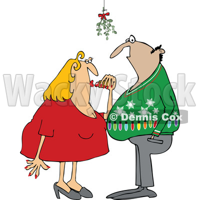 Clipart of a Cartoon Couple Under Mistletoe at a Christmas Party - Royalty Free Vector Illustration © djart #1514845