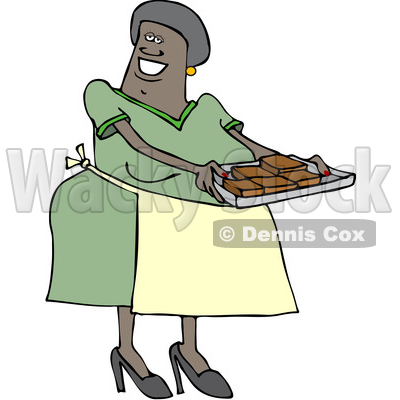 Clipart of a Happy Black Woman Holding a Sheet of Fresh Brownies - Royalty Free Vector Illustration © djart #1514850