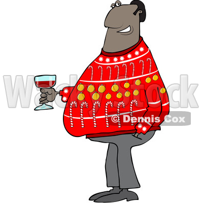 Clipart of a Cartoon Black Man in an Ugly Christmas Sweater, Holding a Glass of Wine - Royalty Free Vector Illustration © djart #1514886