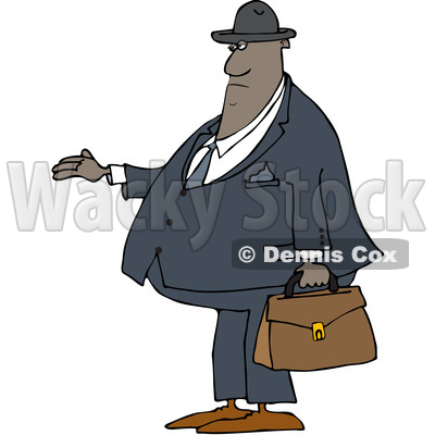 Clipart of a Cartoon Chubby Black Male Debt Collector - Royalty Free Vector Illustration © djart #1514888