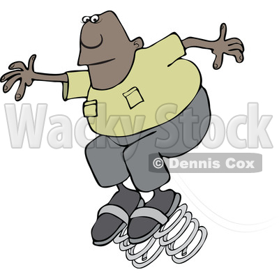 Clipart of a Cartoon Black Man Springing Forward on Bouncy Shoes - Royalty Free Vector Illustration © djart #1515760
