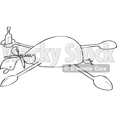 Clipart of a Cartoon Black and White Drunk Moose Spread Eagle - Royalty Free Vector Illustration © djart #1516050