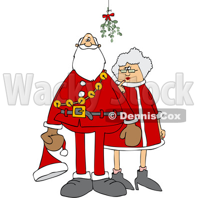 Clipart of a Cartoon Christmas Santa Claus and the Mrs Under the Mistletoe - Royalty Free Vector Illustration © djart #1516053