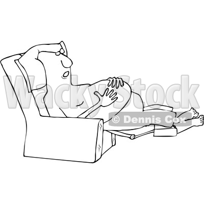 Clipart of a Cartoon Black and White Shirtless Man Sleeping in a Recliner Chair, Resting His Hands on His Belly - Royalty Free Vector Illustration © djart #1516063