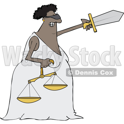 Clipart of a Cartoon Black Lady Justice Holding a Sword and Scales - Royalty Free Vector Illustration © djart #1519181