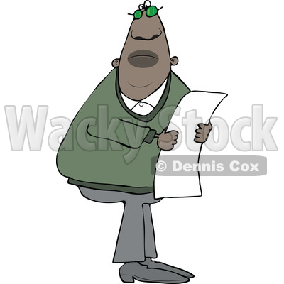 Clipart of a Black Man Reading a Paper - Royalty Free Vector Illustration © djart #1522412