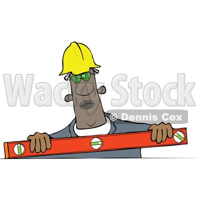 Clipart of a Black Man Using a Level - Royalty Free Vector Illustration © djart #1522413