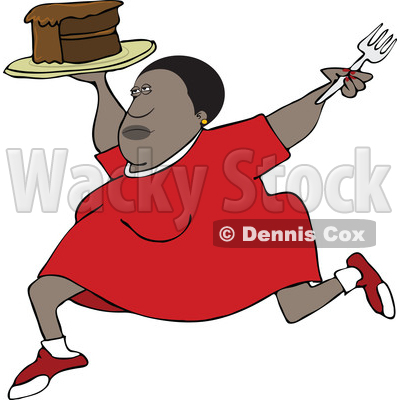 Clipart of a Cartoon Black Woman Running with a Cake - Royalty Free Vector Illustration © djart #1528734