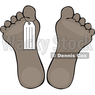Clipart of a Toe Tag on a Foot - Royalty Free Vector Illustration © djart #1528982