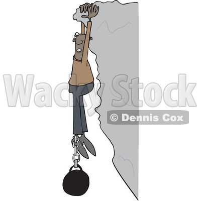 Clipart of a Cartoon Black Man Hanging from a Cliff with a Ball and Chain Attached to His Ankle - Royalty Free Vector Illustration © djart #1530800