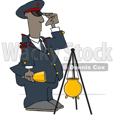 Clipart of a Soldier Bell Ringer Saluting - Royalty Free Vector Illustration © djart #1532238