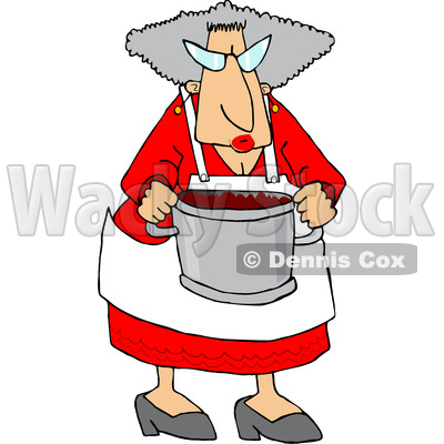 Clipart of a Cool Granny Cooking and Holding a Pot of Food - Royalty Free Vector Illustration © djart #1532240