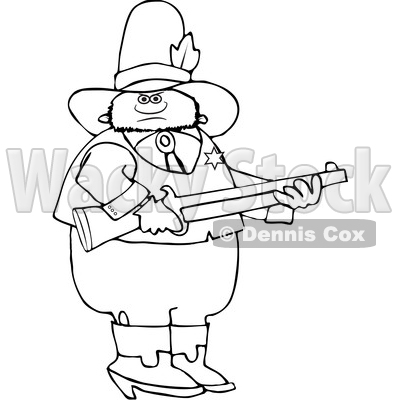 Clipart of a Black and White Sheriff Holding a Rifle - Royalty Free Vector Illustration © djart #1532998